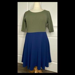 LuLaRoe Nicole Dress 3XL Green & Blue